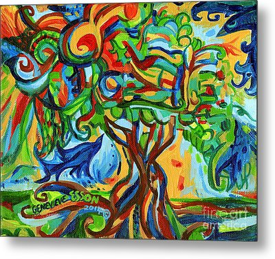 Hairdoodle Tree With Birds Metal Print by Genevieve Esson
