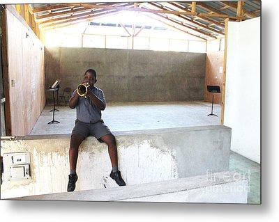 Haitian Boy Plays Trumpet Metal Print by Jim Wright