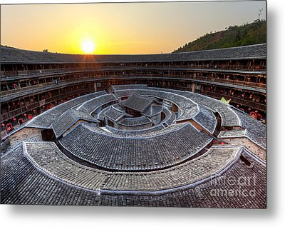 Hakka Tulou Traditional Chinese Housing At Sunset Metal Print by Fototrav Print