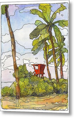 Haleiwa Lifeguard Tower 1 Metal Print by Stacy Vosberg