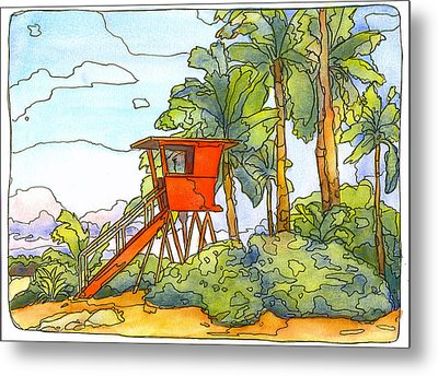 Haleiwa Lifeguard Tower 2 Metal Print by Stacy Vosberg