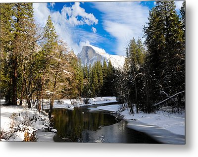 Half Dome In Winter Metal Print by Bonnie Fink