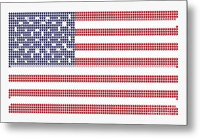 Halftone Us Flag Metal Print