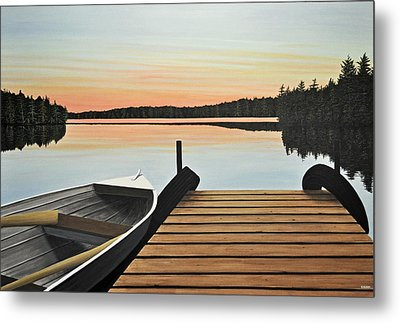 Metal Print featuring the painting Haliburton Dock by Kenneth M  Kirsch