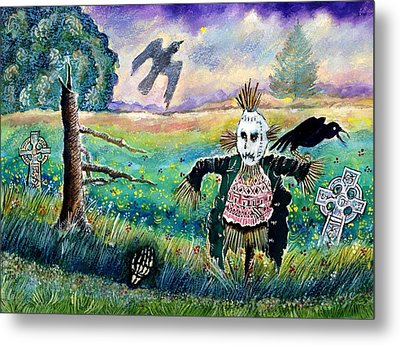 Halloween Field With Funny Scarecrow Skeleton Hand And Crows Metal Print by Ion vincent DAnu