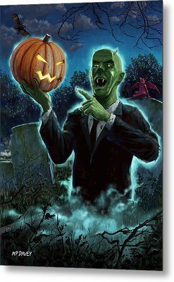 Halloween Ghoul Rising From Grave With Pumpkin Metal Print by Martin Davey