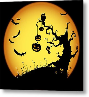 Halloween Haunted Tree Metal Print by Gianfranco Weiss
