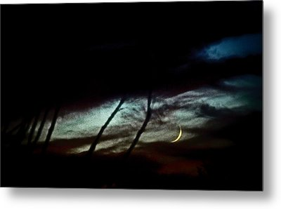 Halloween Moon Over Tucson Desert Metal Print by Jon Van Gilder