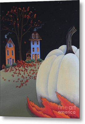 Halloween On Pumpkin Hill Metal Print by Catherine Holman