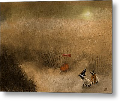 Halloween On The Beach Metal Print