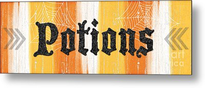 Halloween Potions Sign Metal Print by Linda Woods