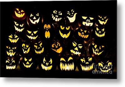Halloween Pumpkin Faces Metal Print by Tim Gainey