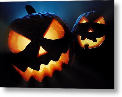 Halloween Pumpkins Closeup -  Jack O'lantern Metal Print