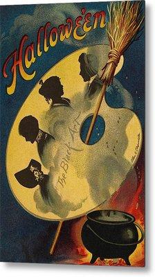 Halloween The Black Art Metal Print by Ellen Hattie Clapsaddle