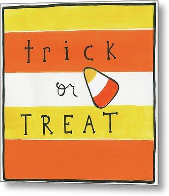 Halloween Trick Or Treat Candy Corn Metal Print