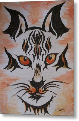 Metal Print featuring the painting Halloween Wild Cat by Teresa White