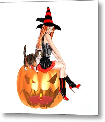 Halloween Witch Nicki With Kitten Metal Print
