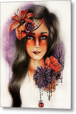 Metal Print featuring the drawing Hallows Eva by Sheena Pike