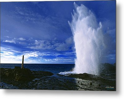 Metal Print featuring the photograph Halona Blowhole Ice Blue Geyser by Aloha Art