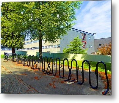 Metal Print featuring the photograph Bike Rack by Laurie Tsemak