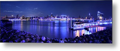 Hamburg Blue Port Panorama Metal Print by Marc Huebner
