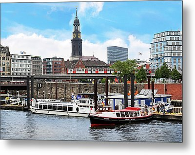 Hamburg, Germany, Tour Boats Docked Metal Print by Miva Stock