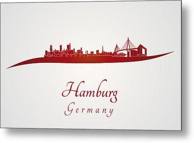Hamburg Skyline In Red Metal Print by Pablo Romero
