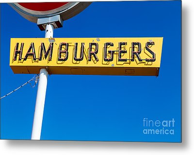 Hamburgers Old Neon Sign Metal Print by Edward Fielding
