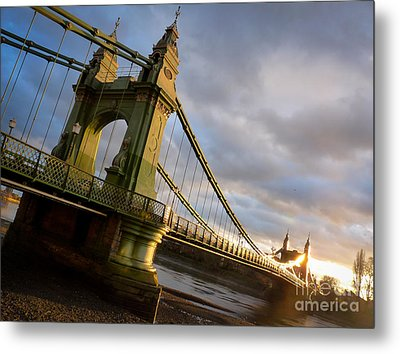 Metal Print featuring the photograph Hammersmith Bridge In London by Peta Thames