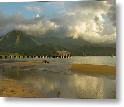 Hanalei Bay Reflections - Kauai Metal Print by Stephen  Vecchiotti