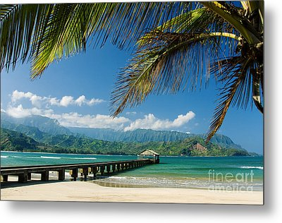 Hanalei Pier And Beach Metal Print by M Swiet Productions