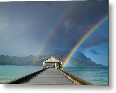 Hanalei Pier And Double Rainbow Metal Print by Roger Mullenhour