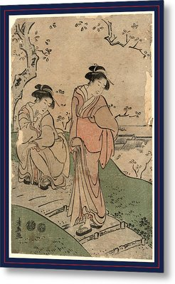 Hanami, Cherry Blossom Viewing. Between 1791 And 1793 Metal Print