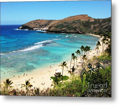 Hanauma Bay With Turtle Metal Print