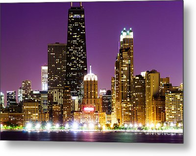 Hancock Building At Night In Chicago Metal Print by Paul Velgos