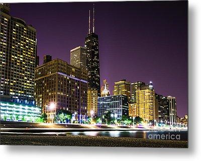 Hancock Building With Dusk Chicago Skyline Metal Print by Paul Velgos