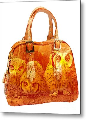 Hand Bag Baby Owls Painting Metal Print by Marvin Blaine