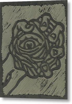 Hand Eye Coordination Linoleum Block Carving Metal Print