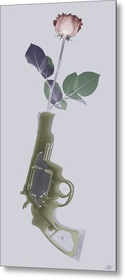Hand Gun And Flower X-ray Series 1 Metal Print