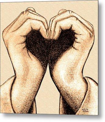 Hand Heart Metal Print by Jaison Cianelli