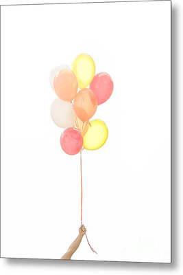 Hand Holding Balloons Metal Print