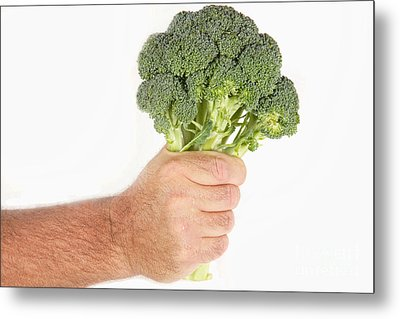 Hand Holding Broccoli Metal Print by James BO  Insogna