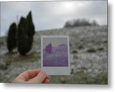 Hand Holding Polaroid - Concept Image For Memory Or Time Or Past Metal Print by Matthias Hauser