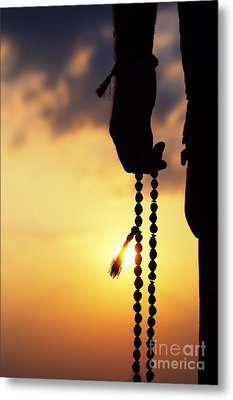 Hand Holding Rudraksha Beads Metal Print by Tim Gainey