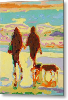 Hand In Hand On Beach With Two Dogs Oil Painting Bertram Poole Metal Print by Thomas Bertram POOLE