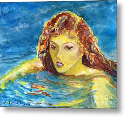 Hand Painted Art Adult Female Swimmer Metal Print by Lenora  De Lude