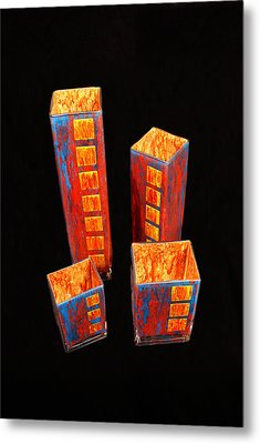 Hand Painted Glass Set Of Four Reds Metal Print