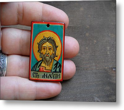 Hand Painted Miniature Icon Of Saint Andrew The Apostle Metal Print