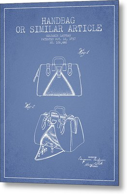 Handbag Or Similar Article Patent From 1937 - Light Blue Metal Print by Aged Pixel