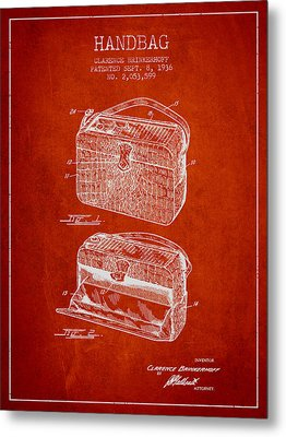 Handbag Patent From 1936 - Red Metal Print by Aged Pixel